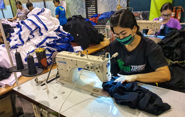 Thai t-shirt factory seamstress