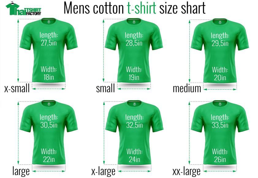 Thai t-shirt-factory t-shirt size chart